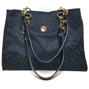 Tommy Hilfiger Monogram Black Tote Purse